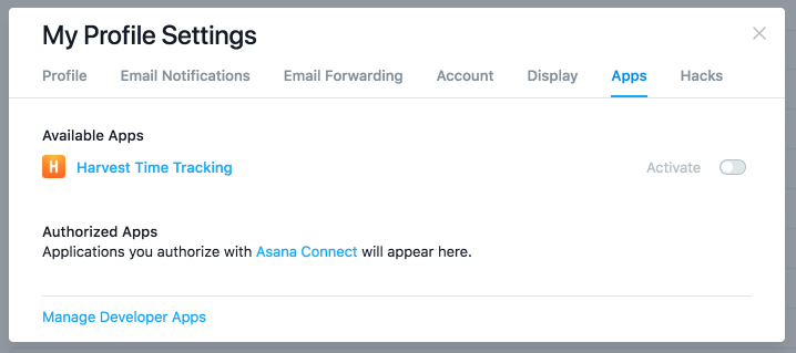 My Profile Settings in Asana