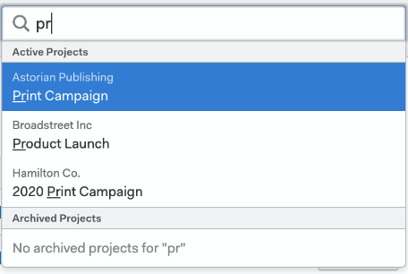 screenshot showing Project Search