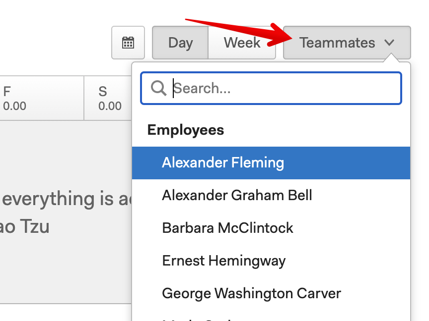 Select a team member from the Teammates dropdown on the timesheet