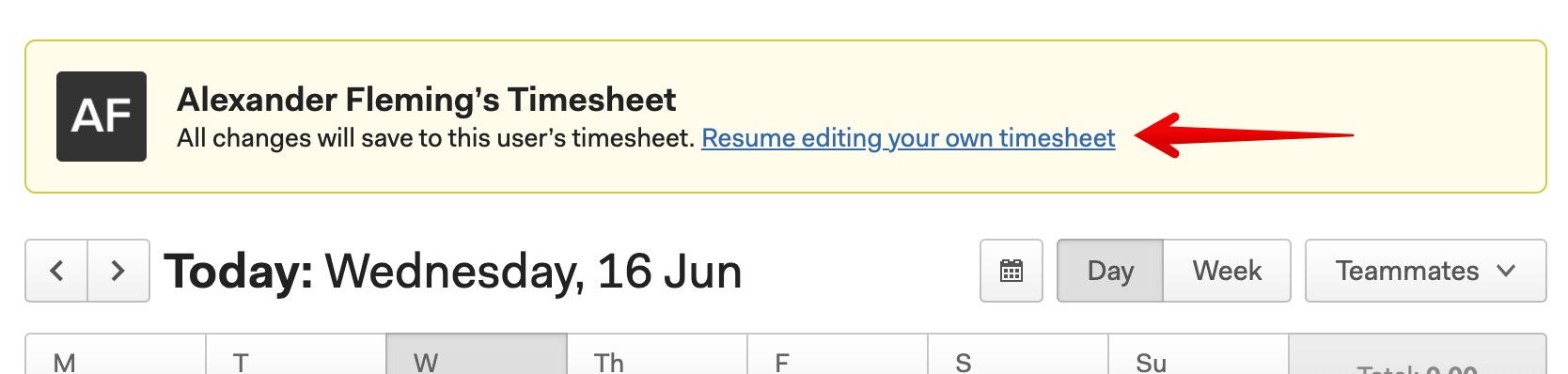 Resume editing your own timesheet
